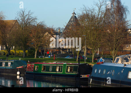 Barges on the Great Ouse river at Ely, Cambridgeshire, UK. - Stock Photo