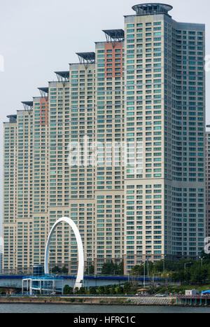 Residential high rise apartment blocks across the Suyoung river in Centum city. Pusan, South Korea. - Stock Photo