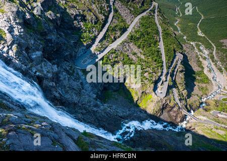 Trollstigen near Andalsnes, Norway, Scandinavia, Europe. - Stock Photo