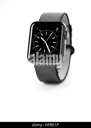 Apple Watch, series 2, smartwatch with analog clock dial on its display - Stock Photo