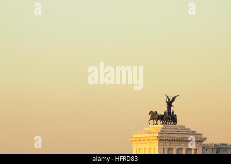 View of Rome roofs: detail of Vittoriano (well known as Altare della Patria). - Stock Photo