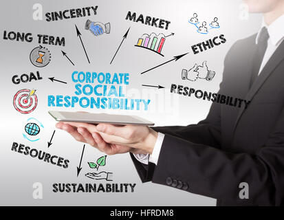 Corporate Social Responsibility Concept, young man holding a tablet computer. - Stock Photo