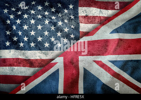 Mixed Flags of the USA and the UK. Union Jack flag.Flags of the USA and the UK Divided Diagonally. - Stock Photo