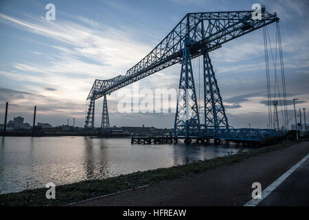 The iconic Transporter Bridge spanning the River Tees at Middlesbrough in north east England - Stock Photo