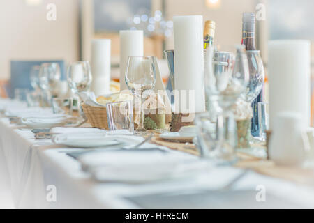 Table set for a wedding breakfast - Stock Photo