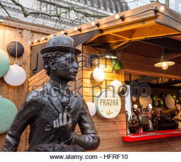 Charlie Chaplin statue, Leicester Square, London, England, United Kingdom - Stock Photo