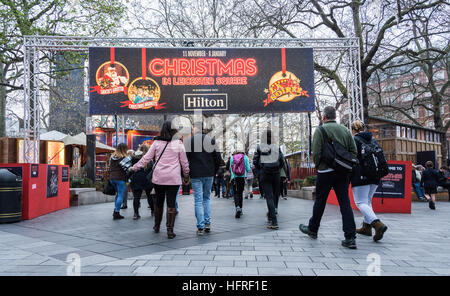 Christmas Market in London's Leicester Square, UK - Stock Photo