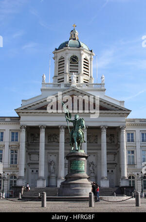 The statue of early Crusader Godfrey Bouillon sits outside of the Royal Palace in Mont des Arts section of Brussels, - Stock Photo