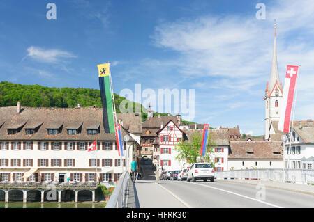 Stein am Rhein: Rhine bridge and monastery St. Georgen (with church tower), , Schaffhausen, Switzerland - Stock Photo