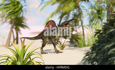 3d rendering of the hunting spinosaurus - Stock Photo