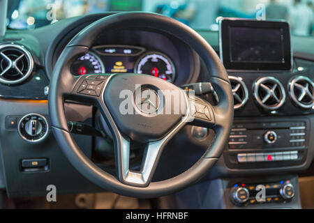 Mercedes-Benz B-class electric drive car interior closeup at First International Trade Show of Electric Vehicles - Stock Photo