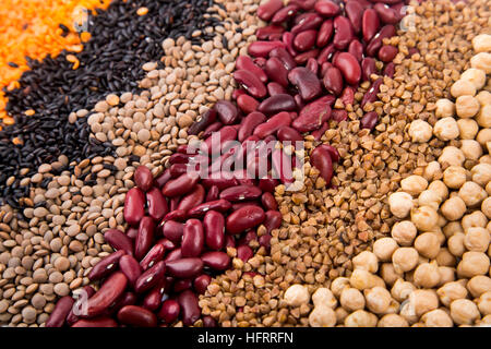 Dry beans, grains and legumes - pantry food background - Stock Photo