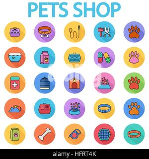 Pets shop icons set. Flat vector related icon set with long shadow for web and mobile applications. It can be used - Stock Photo