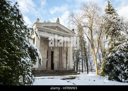 Széphalom, Hungary. 27th December, 2016. The Ferenc Kazinczy Mausoleum at the Hungarian Language Museum in winter. - Stock Photo