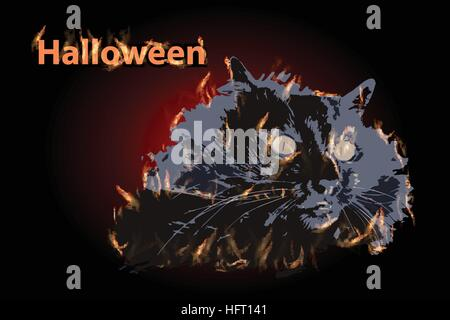 COTE fire helluin illustration with big yellow eyes. Colour black on a dark background. FOR USE design, decoration, - Stock Photo