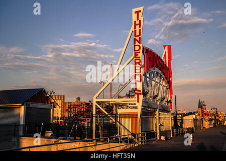 The Thunderbolt roller coaster in Coney Island, New York on a sunny winter day - Stock Photo