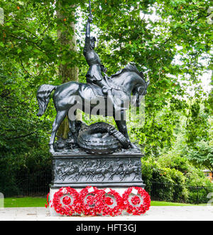 Cavalry of the Empire Memorial, Hyde Park, London, England. Memorial to the cavalry soldiers who died in twentieth - Stock Photo