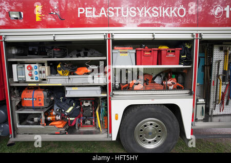 Fire truck equipment on display, Finland - Stock Photo