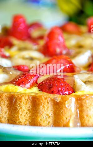 strawberries cake closeup vertical jelly homemade recipe - Stock Photo