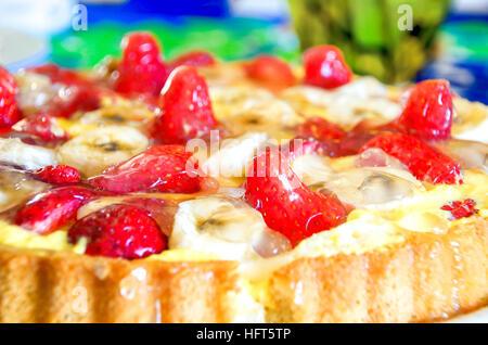 strawberries cake closeup jelly homemade recipe - Stock Photo