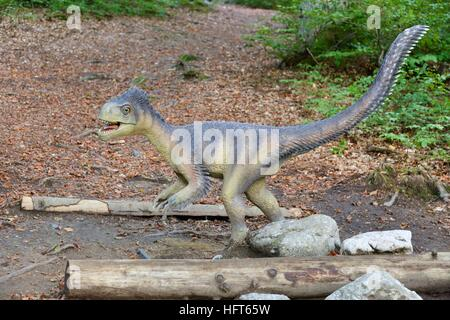 Model of a dinosaur in Dino Parc in Rasnov, Romania - Stock Photo