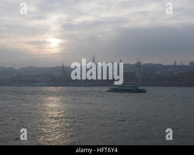 The Danube river with a view on the Buda part of Budapest, Hungary - Stock Photo
