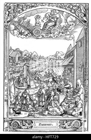 German country life around 1550, view of the different professions and works, woodcut from the year 1885, digital - Stock Photo