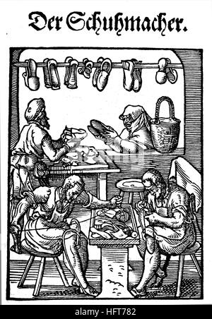 The shoemaker, Der Schuhmacher, Woodcut from the, Das Saendebuch, a famous series of woodcuts of the trades by Amman, - Stock Photo