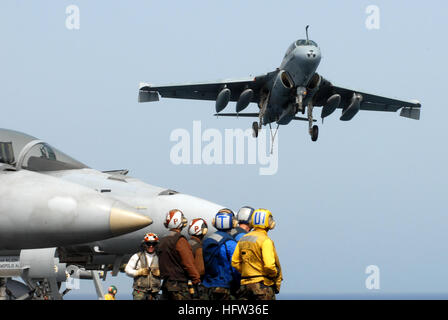 070308-N-2659P-015 ARABIAN SEA (March 8, 2007) - An EA-6B Prowler, assigned to the 'Yellowjackets' of Tactical Electronic - Stock Photo