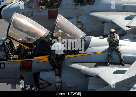070316-N-3038W-380  ARABIAN SEA (March 16, 2007) - A pilot sits on an EA-6B Prowler, assigned to the 'Yellowjackets' - Stock Photo