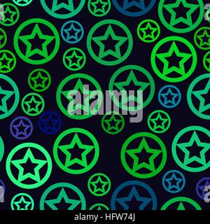 vector seamless pattern - green stars in circles on blue background - Stock Photo