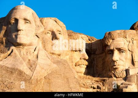 Mount Rushmore National Memorial, South Dakota SD USA. Mt Rushmore in early morning light. - Stock Photo