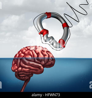 Psychology giving help concept and psychiatry counseling treatment or neurology research as a mental health symbol - Stock Photo