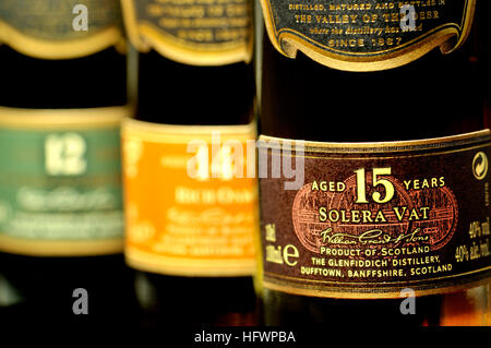 Whisky bottles - (Glenfiddich) 12, 14 and 15 years old - Stock Photo