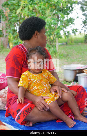 Mother and daughter during village ceremony, Yasawa island group, Fiji, South Pacific islands, Pacific - Stock Photo