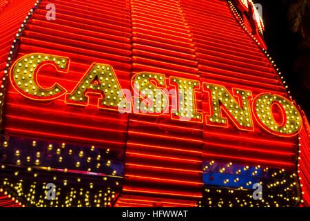 Las Vegas - Circa December 2016: Neon Casino Sign at the Fremont Street Experience. Fremont Street is the anchor - Stock Photo
