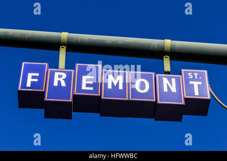 Las Vegas - Circa December 2016: Fremont Street Sign in Downtown, leading to the Fremont Street Experience pedestrian - Stock Photo