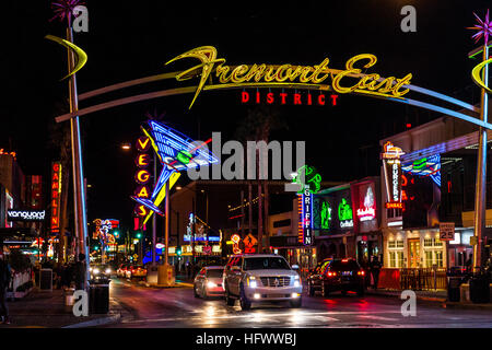 Las Vegas - Circa December 2016: Fremont Street East District Sign with Neon Martini Glass I - Stock Photo