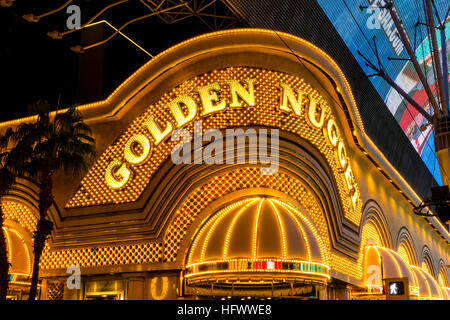 Las Vegas - Circa December 2016: Neon Exterior of the Golden Nugget. The Golden Nugget opened in 1946 and is part - Stock Photo