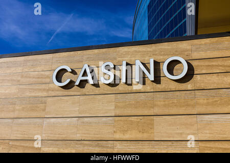 Las Vegas - Circa December 2016: Casino Entrance Sign at the M Resort II - Stock Photo