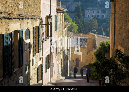 Deia, Mallorca, Spain. Street view in pretty little Majorcan village - Stock Photo