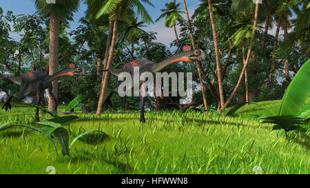 3d illustration of the running gigantoraptor dinosaurus - Stock Photo