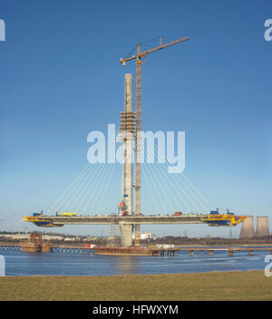 Mersey Gateway project - the new Runcorn-Widnes bridge being constructed across the River Mersey by West Bank, Widnes. - Stock Photo