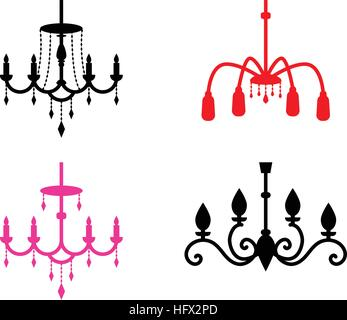 Set of chandelier icons in silhouette style, vector design - Stock Photo