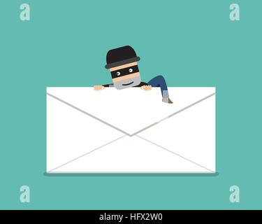 Thief climb out from phishing mail, vector design - Stock Photo