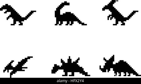 Set of dinosaur icons in silhouette pixel style, vector - Stock Photo