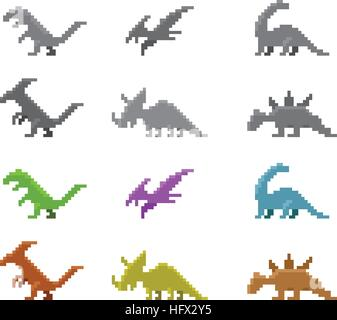 Set of dinosaur icons in color pixel style, vector design - Stock Photo