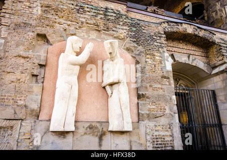 Statues outside Kaiser Wilhelm Memorial Church Kaiser-Wilhelm-Gedächtnis-Kirche. Berlin, Germany - Stock Photo
