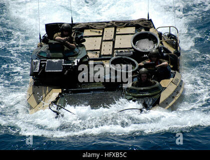 050723-N-5313A-100 Persian Gulf (July 23, 2005) Ð An Amphibious Assault Vehicle (AAV) maneuver into position to - Stock Photo