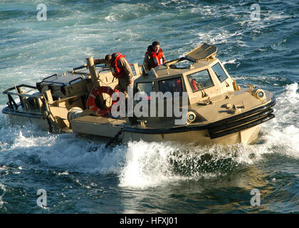060109-N-5588M-015 Atlantic Ocean (Jan. 9, 2005) - A Navy Lighter, Amphibious Re-supply Cargo vehicle (LARC) prepares - Stock Photo